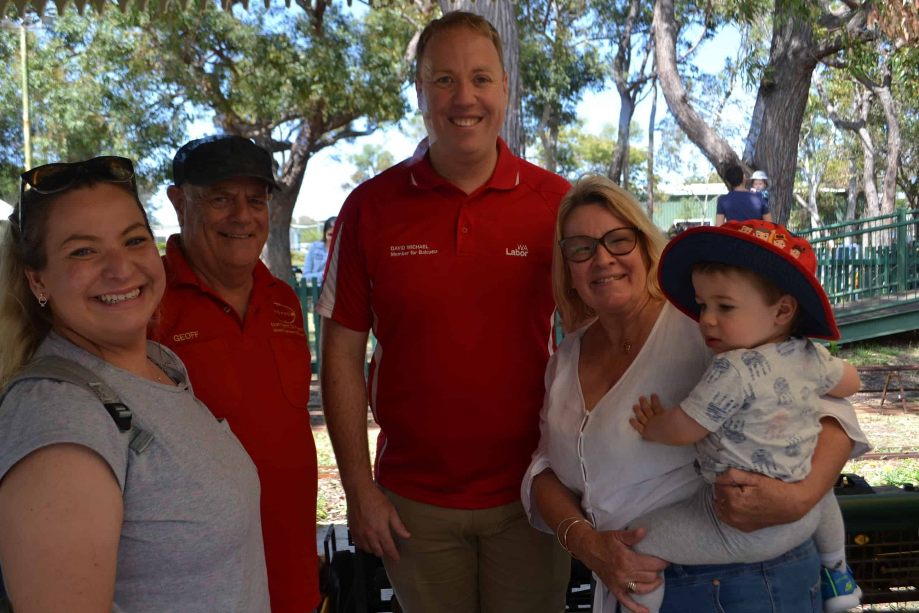 David Michael, state parliamentary representative for Balcatta (centre), pictured with NDMES president Geoff Wilkinson and visitors Kylie, her mom Bev and son Cooper (18 months).