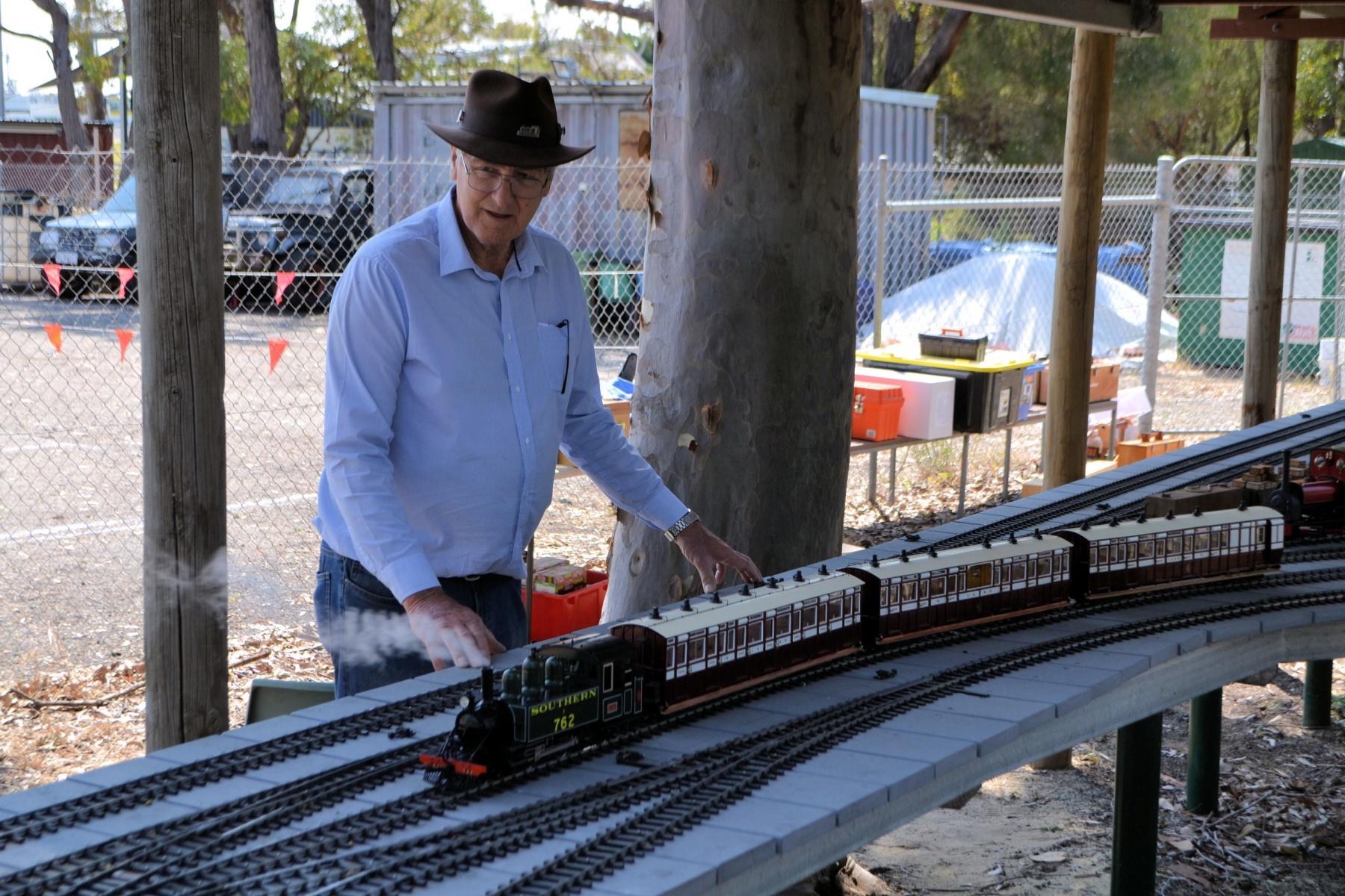 Laurie Morgan prepares the train